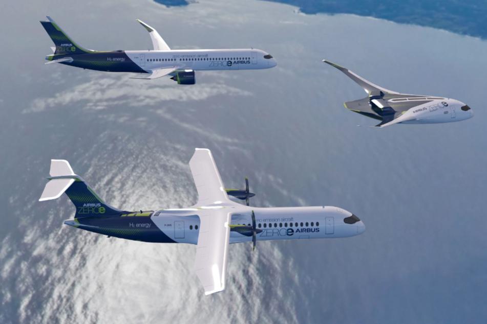 Die drei verschiedenen Konzepte zukünftiger Flugzeuge hat Airbus präsentiert.