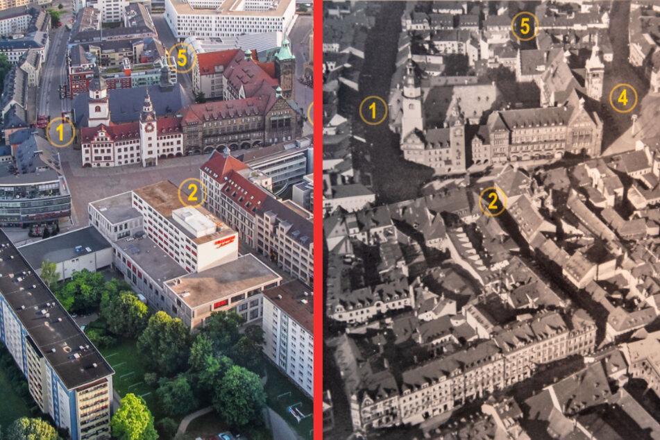 Chemnitz: Spektakuläre Luftaufnahmen von gestern und heute