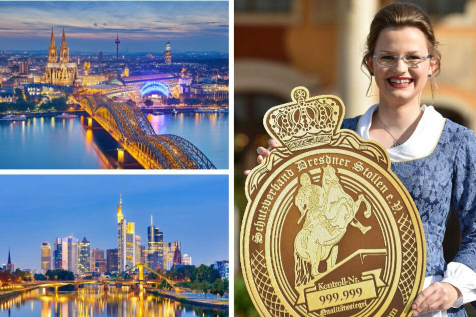 Ob der Stollen Erfolg in Frankfurt/Main oder Köln (links unten) hat? Das Stollenmädchen Johanna Meitzner hätte sich die Saison sicher auch etwas anders vorgestellt.