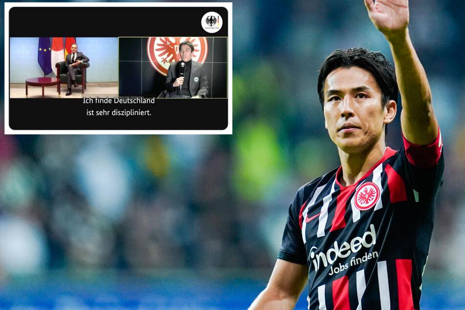 """""""Hallo, Herr Minister"""": Eintracht Frankfurts Hasebe plaudert mit Heiko Maas"""