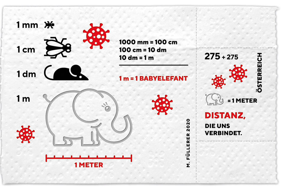 The stamp shows a baby elephat and other animals to depict distances.