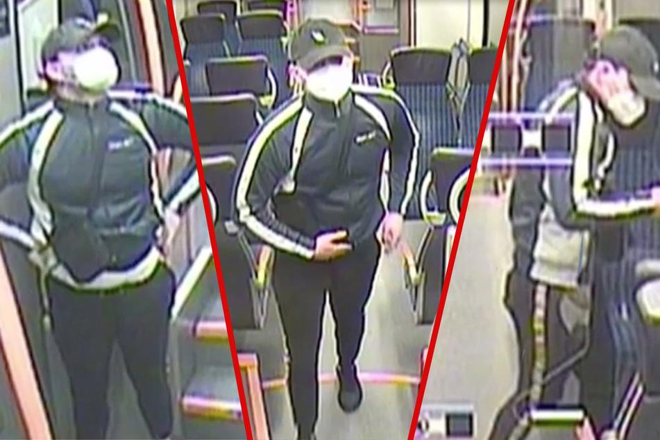 Die Überwachungskamera zeichnete den Täter auf, der sich bereits vor der Tat in der S-Bahn befand und während der Tat die Tür blockierte.