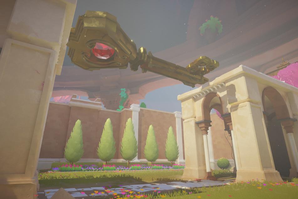 Brücke mal anders: Von dem riesigen Schlüssel gibt es in der Spielwelt von Maquette irgendwo noch eine kleinere Version, mit der sich Türen sicherlich einfacher öffnen lassen. Bewegen wir diesen, bewegt sich allerdings auch unsere Behelfsbrücke.