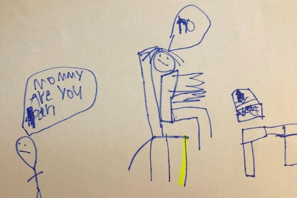 Dieses Bild schenkte der Sechsjährige seiner arbeitenden Mutter.