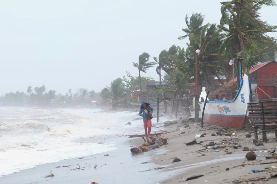 Strong waves hit the coast of Sorsogon after a typhoon made landfall.