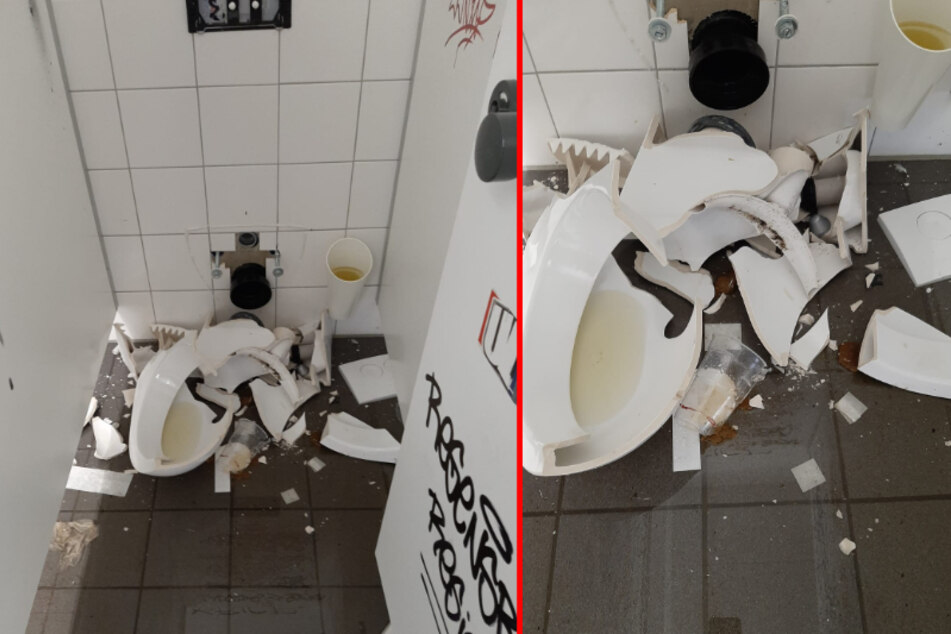 So sah die Gäste-Toilette in Aue aus, als die HSV-Fans weg waren.