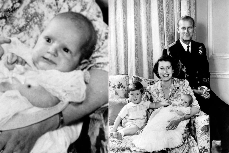 1. Januar 1951: Lächelnd sitzt die britische Prinzessin Elizabeth mit ihrem Mann Philip, Herzog von Edinburgh, und den beiden Kindern Prinz Charles (2) und Prinzessin Anne (fünf Monate) in ihrem Wohnsitz Clarence House. P