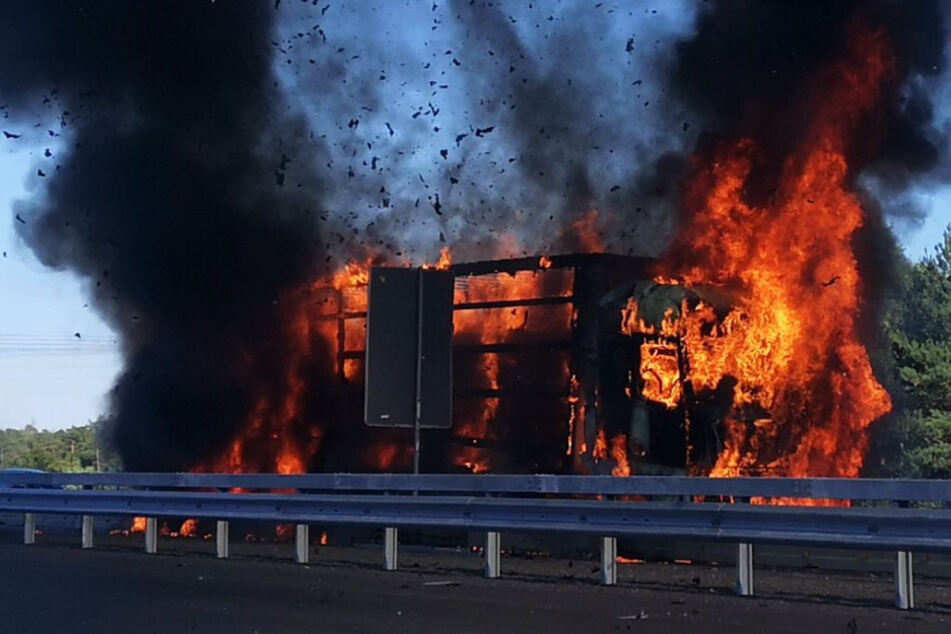 Inferno auf der Autobahn: Lastwagen steht lichterloh in Flammen