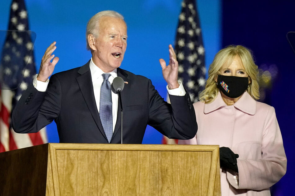 Joe Biden addressing supporters in Wilmington, Delaware, early on Wednesday morning.