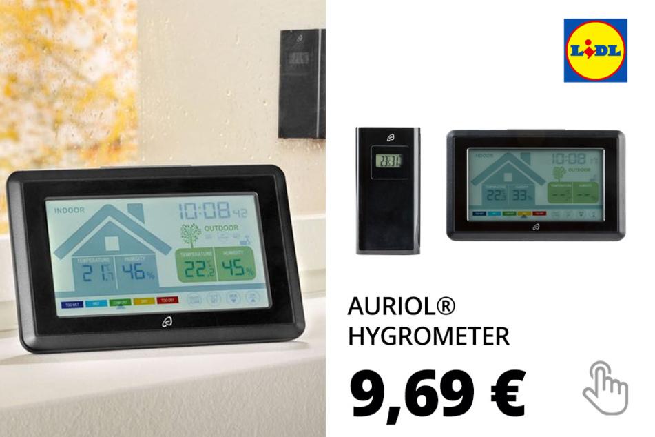AURIOL® Hygrometer, mit Lüftungsempfehlung, Raumklimabewertung, Schimmelalarm