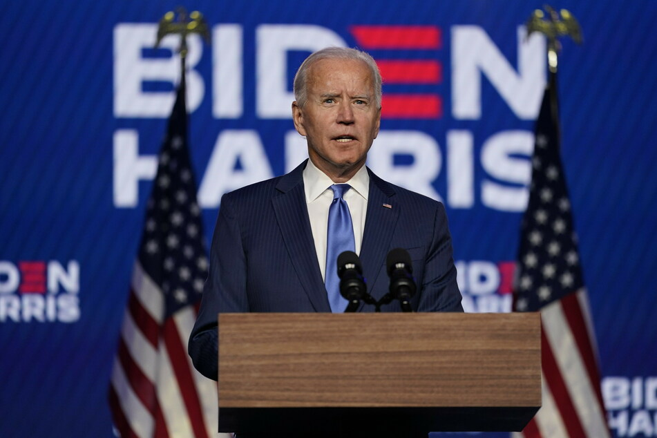 Joe Biden, Präsidentschaftskandidat der Demokratischen Partei und ehemaliger Vizepräsident, hält eine Ansprache.