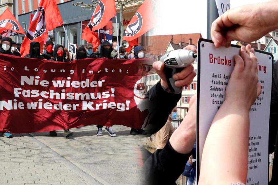 Bei der Antifa-Demo am 8. Mai befestigten die Demonstranten das Schild an der Eberhardsbrücke.