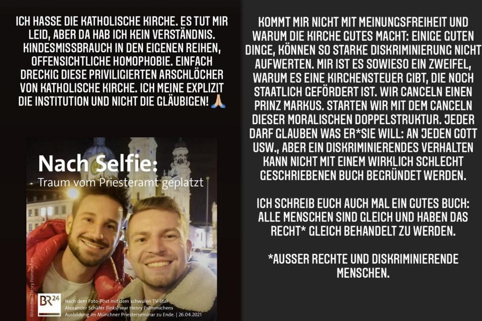 Die Montage zeigt Screenshots zweier Instagram-Storys von Josimelonie vom Montag.