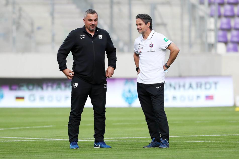 Die Trainer Thomas Reis (l.) und Dirk Schuster waren nach der Partie nicht ganz einer Meinung.