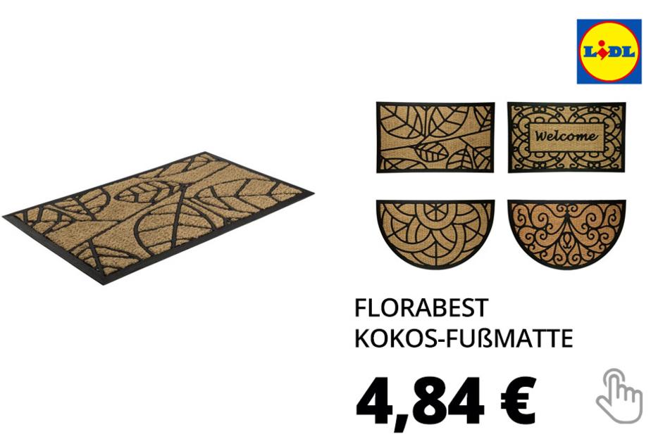 FLORABEST Kokos-Fußmatte, 45 x 75 cm, mit Gummiunterseite