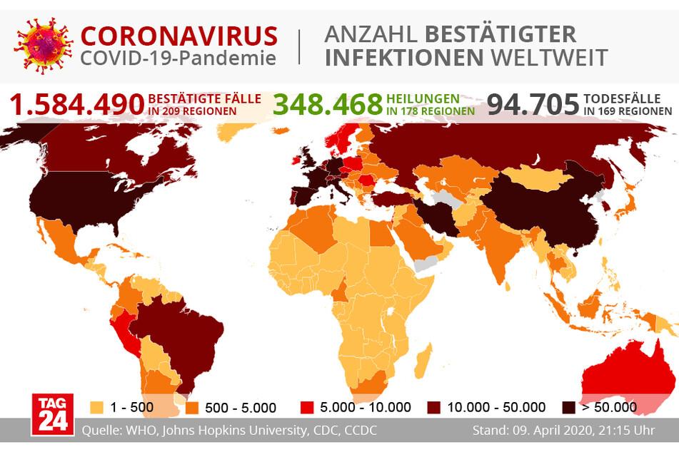 Die weltweite Verteilung des COVID-19-Virus.