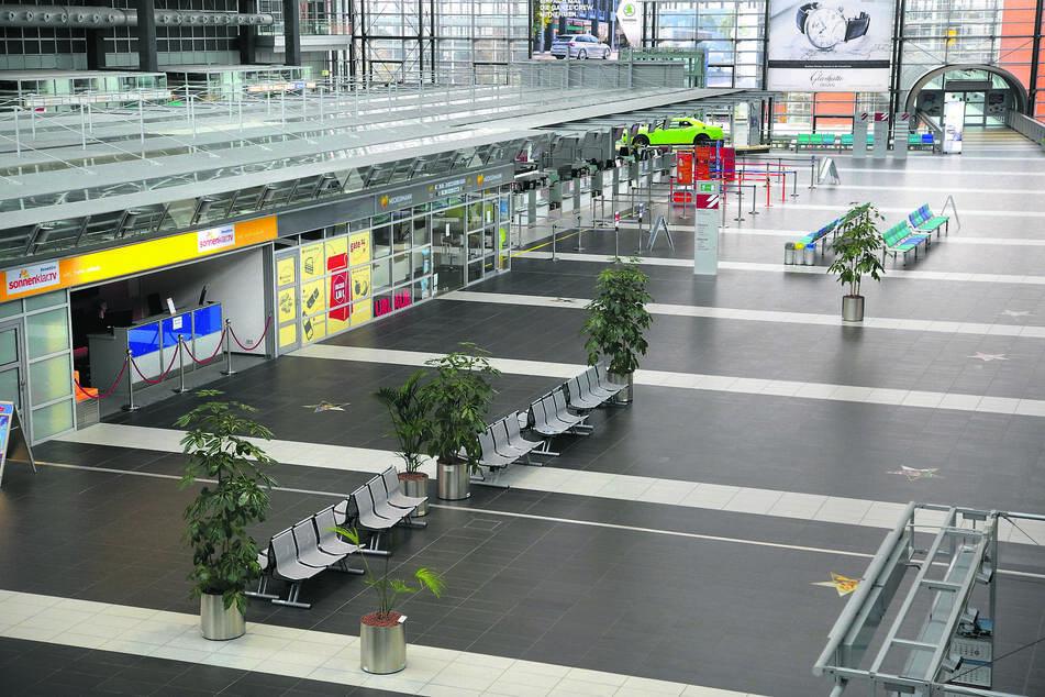 Eingefroren: Menschenleer präsentiert sich der Dresdner Flughafen derzeit.