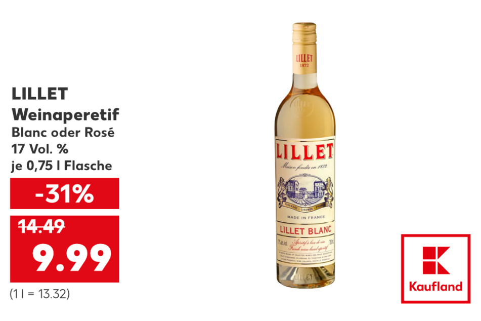 LILLET Weinaperetif für nur 9,99 Euro.