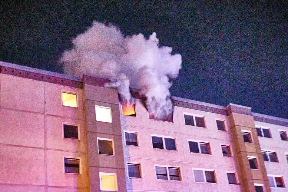 Fette Rauchwolken kamen aus der Wohnung.