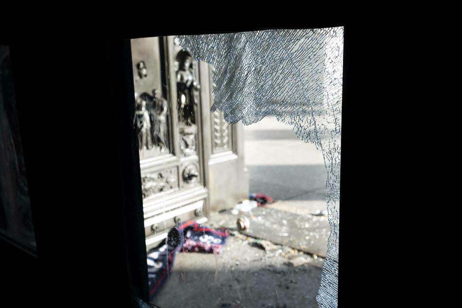 Rioters broke through several windows and doors during the January 6 Capitol attack.