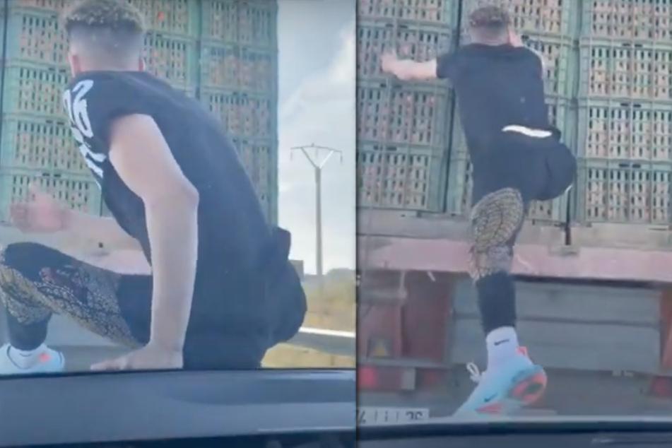 Mit offenen Schnürsenkeln springt der Typ auf den Lastwagen vor sich.