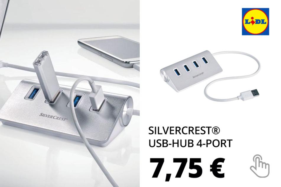 SILVERCREST® USB-Hub 4-Port »SUHL 4 A1«, mit 4 USB-Anschlüssen, aus Aluminium