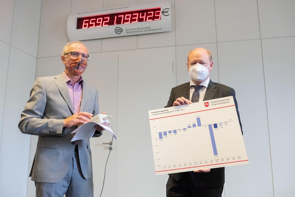Bernhard Zentgraf (l), Vorsitzender des Bundes der Steuerzahler Niedersachsen, stellt zusammen mit Reinhold Hilbers, Niedersachsens Finanzminister (CDU), die Schuldenuhr um, da sie in der Corona-Krise wieder vorwärts läuft.
