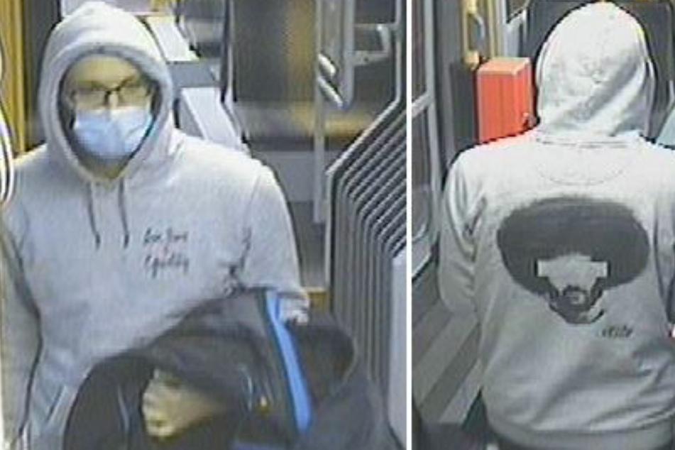 Mit einem auffälligen grauen Pullover war der Mann in der Straßenbahn unterwegs.
