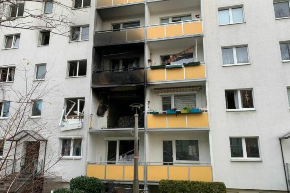 Der Balkon im ersten Obergeschoss wurde komplett zerstört.