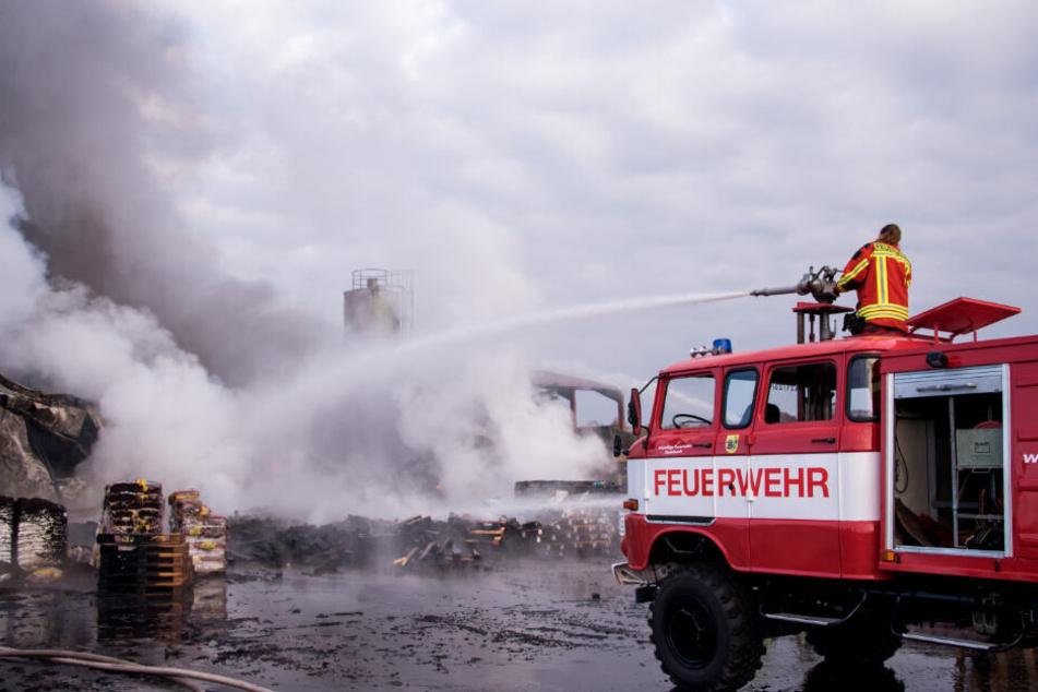 Die Feuer versucht den Brand zu löschen.