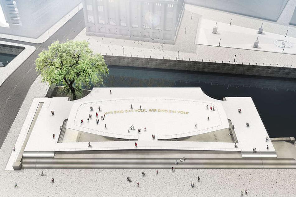 Die Computergrafik zeigt den Entwurf der Gestalter Milla & Partner für das in Berlin geplante Freiheits- und Einheitsdenkmal.