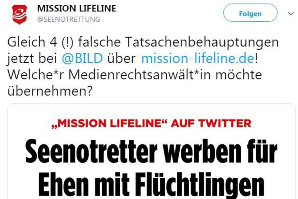 """Bei der """"Mission Lifeline"""" regt man sich mächtig über die Reaktion auf den provokanten Tweet auf."""