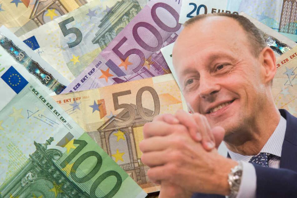 Friedrich Merz verdient laut eigenen Angaben rund eine Million Euro brutto pro Jahr. (Bildmontage)