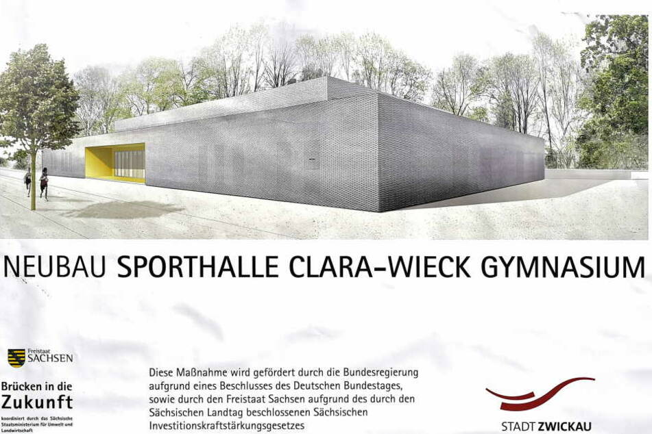 So soll die neue Sporthalle des Clara-Wieck-Gymnasiums aussehen. Baustart ist  im Juni. Gesamtkosten: 3,9 Millionen Euro.