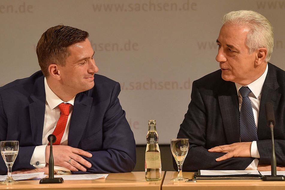 Ministerpräsident Stanislaw Tillich (58, CDU, r.) und Wirtschaftsminister Martin Dulig (43, SPD): Auch nach 2019 ein Team?