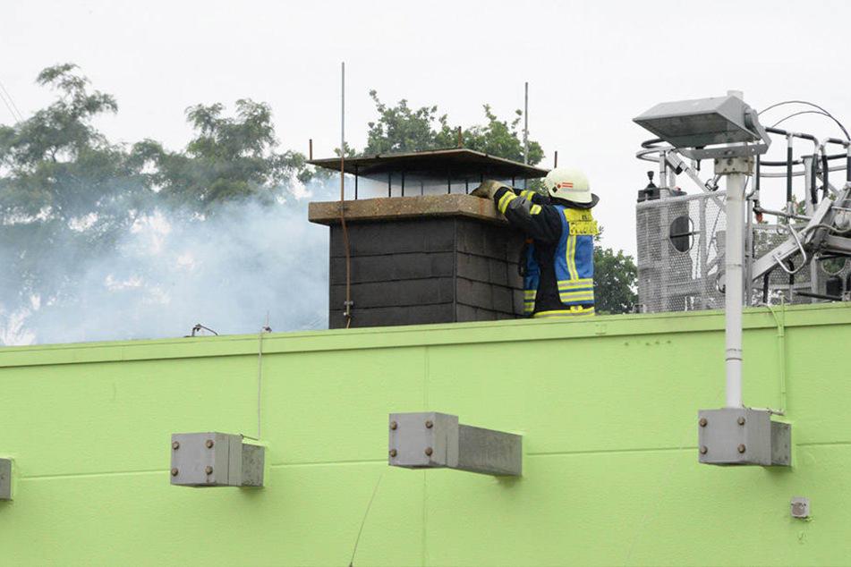 Vom Dach aus wurde der Kamin von der Feuerwehr gereinigt.