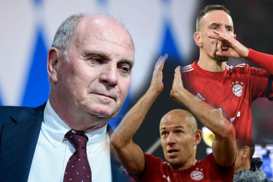 Hoeneß hat den Abschied von Ribéry und Robben (Mitte) vom FC Bayer bekannt gegeben. (Bildmontage)