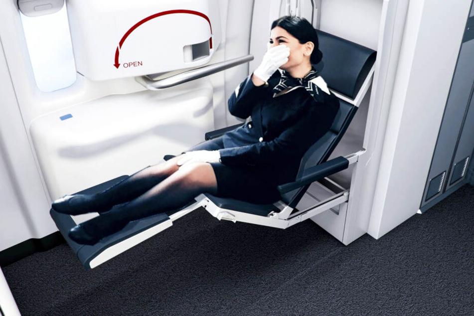 Ebenso ist dieser Liegestuhl für Flugbegleiter eine Neuentwicklung.