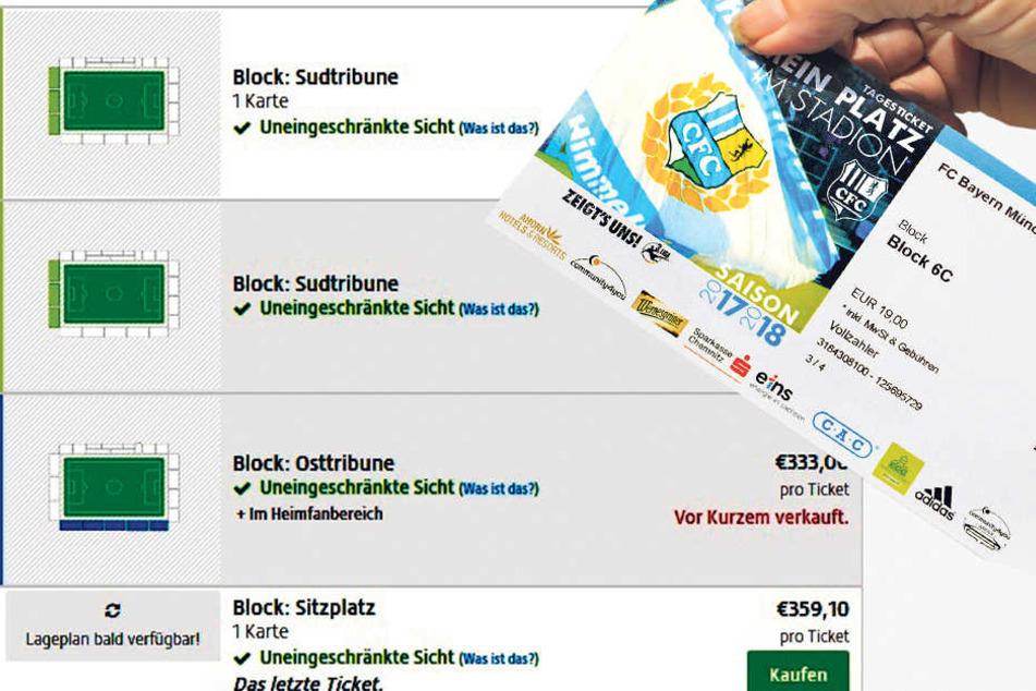 """Normal bezahlen die Fans für Stehplatztickets (o.r.) moderate 19 Euro. In der Ticketbörse """"Viagogo"""" werden die Karten mittlerweile für horrende 308,35 Euro angeboten. Der Verein warnt vor diesen Wucher-Preisen."""