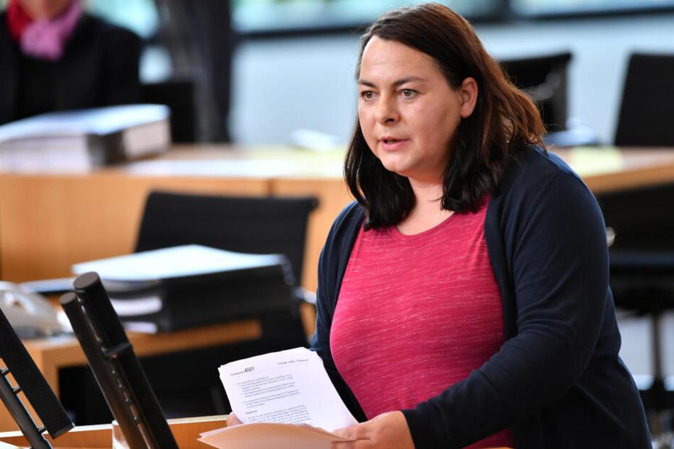 Katharina König-Preuss bei einer Sitzung im Thüringer Landtag.