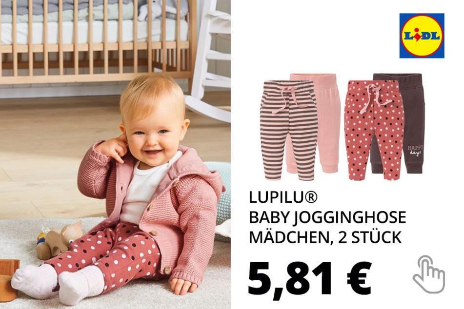 LUPILU® Baby Jogginghose Mädchen, 2 Stück, mit Baumwolle