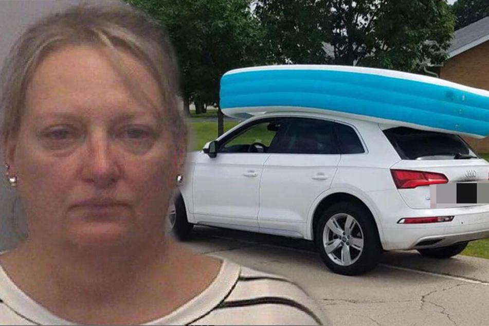 Polizisten sind sprachlos, was eine Mutter in Planschbecken auf ihrem Auto transportiert