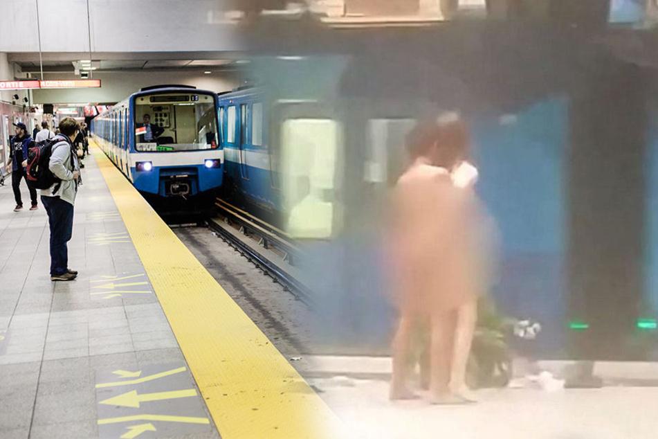 Hier bumsen zwei Männer in einem U-Bahn-Schacht