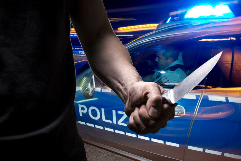 Ein Mann hantierte mit einem Messer vor drei Schülerinnen. (Fotomontage)