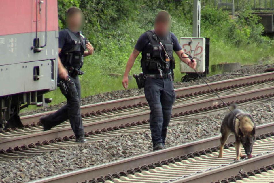 Die Polizisten rückten auch mit einem Diensthund an.
