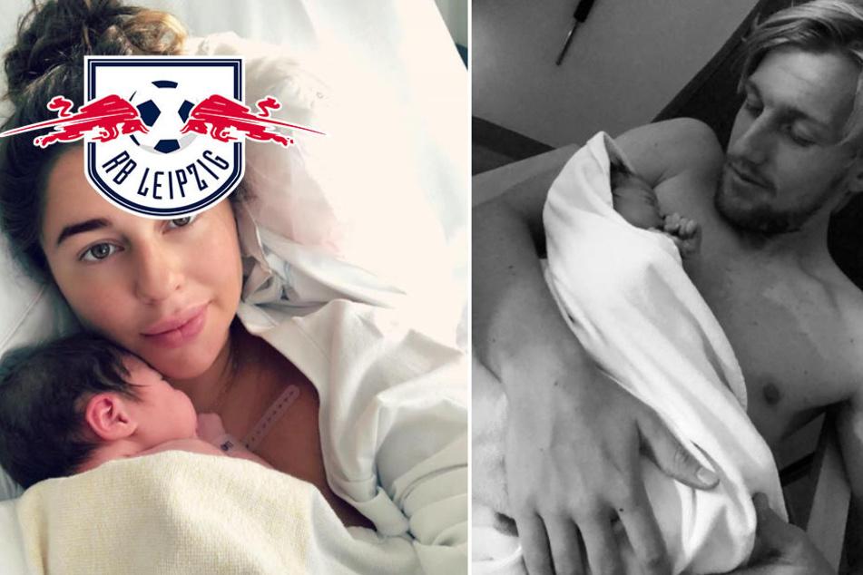 Endlich ist das Baby da! Hier zeigt RB-Star Emil Forsberg seine kleine Florence