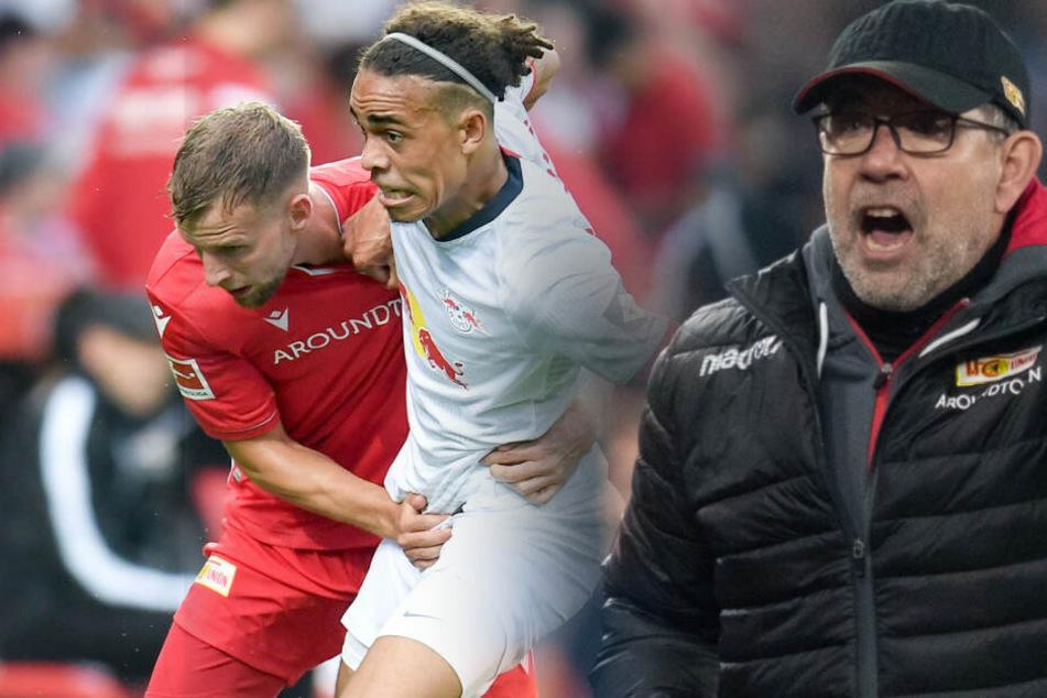 Im Hinspiel hatten Unions Urs Fischer (r) und Marvin Friedrich (l) gegen RB Leipzig klar das Nachsehen.