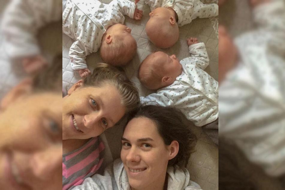 Kira Walkenhorst (unten) zeigt sich mit ihrer Ehefrau Maria und den drei Kindern.