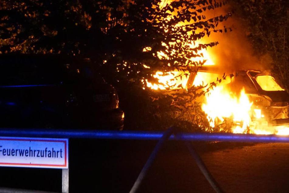 Ein 28-Jähriger Zeuge entdecke das brennende Fahrzeug und rief die Feuerwehr.
