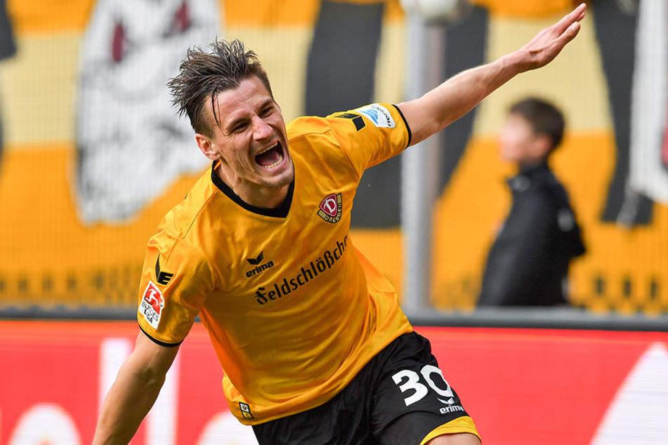 Stefan Kutschke blühte bei Dynamo förmlich auf, ist in dieser Saison mit 13 Treffern in Liga und Pokal bisher bester Torschütze.